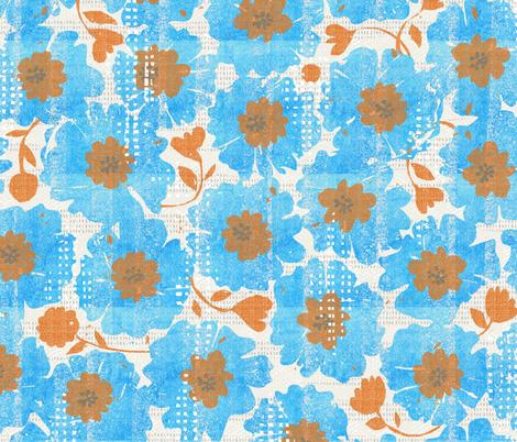 blue bloomsspringwatercolor fabric ottomanbrim