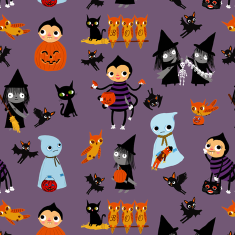 Tricks and Treats on purple fabric by heidikenney on Spoonflower - custom fabric