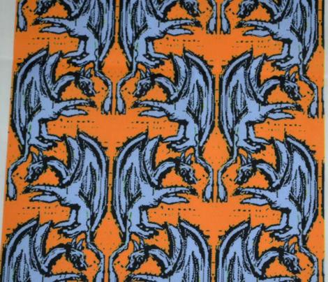 Woodblock Dragons on Orange