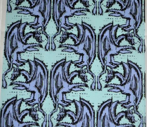 Lavender Woodblock Dragons