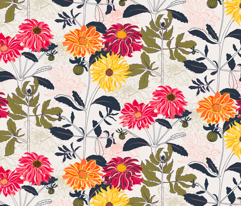 The Dahlia Page fabric by jill_o_connor on Spoonflower - custom fabric