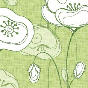 Stylized poppies - leaf green