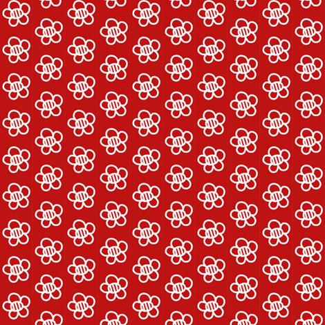 White Flowers on Deep Red fabric by eve_catt_art on Spoonflower - custom fabric