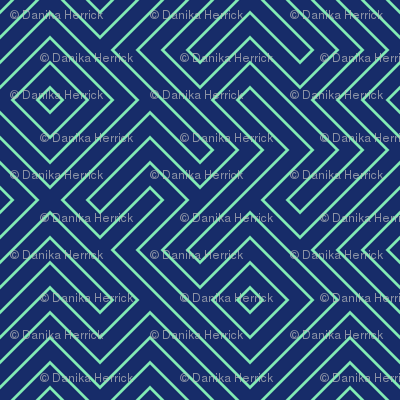 Tribal Maze Aqua on Navy