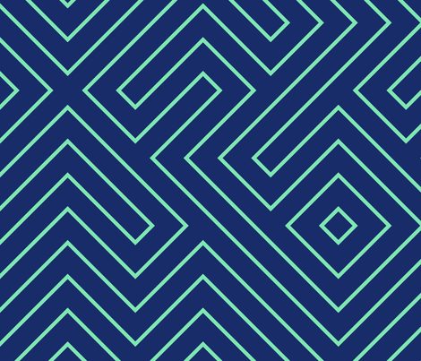Tribal Maze Aqua on Navy fabric by danikaherrick on Spoonflower - custom fabric
