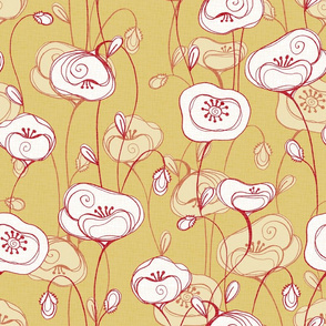 stylized poppies on ochre