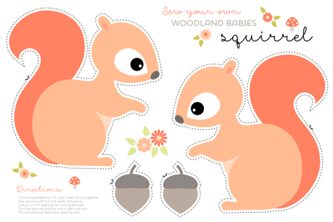 Sew your own baby squirrel fabric by heleenvanbuul on Spoonflower - custom fabric