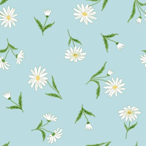 daisies on dusty blue