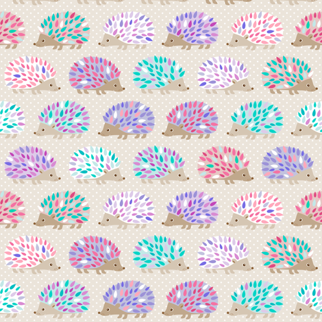 Hedgehog polkadot - small fabric by heleenvanbuul on Spoonflower - custom fabric