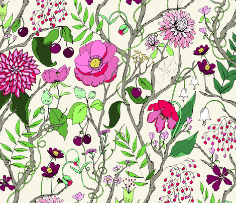 Botanical Tree fabric by emmakisstina on Spoonflower - custom fabric