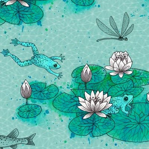 Water Lilies with frog and watercolor