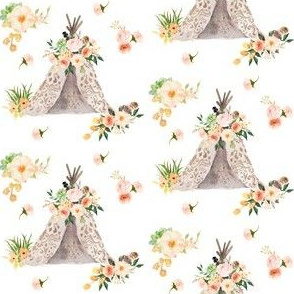 "Floral Aztec Teepee - 3"" Small Print"