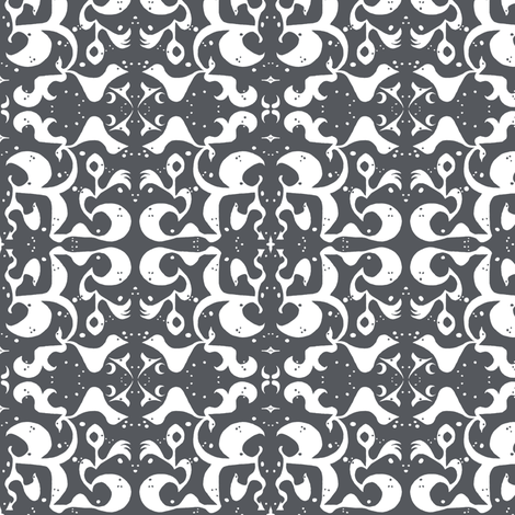 FRONT PORCH Charcoal & Ivory fabric by shi_designs on Spoonflower - custom fabric