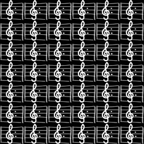 Treble Clef on Black