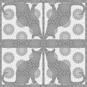Cat Damask 19,  Black & White 1