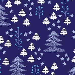 Colorful christmas woodland trees stars and mistletoe branch hand drawn nature illustration seasonal decoration textile pink