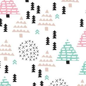 Colorful christmas woodland trees stars and mistletoe branch hand drawn nature illustration seasonal scandinavian forest textile