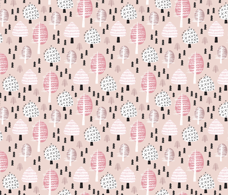 Colorful pastel christmas woodland trees stars and mistletoe branch hand drawn nature illustration seasonal scandinavian forest textile pink fabric by littlesmilemakers on Spoonflower - custom fabric