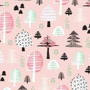 Colorful pastel spring woodland trees stars and mistletoe branch hand drawn nature illustration seasonal scandinavian forest textile pink