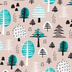 Colorful pastel christmas woodland trees stars and mistletoe branch hand drawn nature illustration seasonal scandinavian forest textile blue