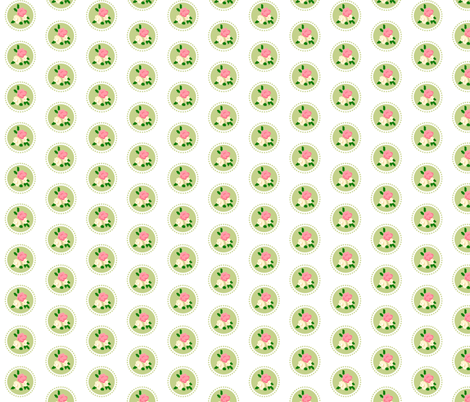 Pixel Rose Polka Dot Spring fabric by thepixelpinup on Spoonflower - custom fabric