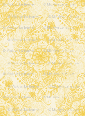 Messy Boho Floral in Mustard Yellow