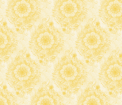 Messy Boho Floral in Mustard Yellow fabric by micklyn on Spoonflower - custom fabric