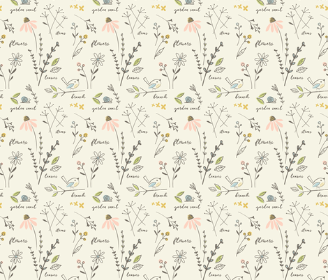 garden sketchbook fabric by shindigdesignstudio on Spoonflower - custom fabric