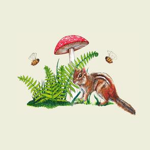 chipmunk, mushroom and bees