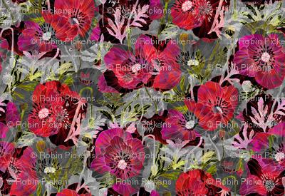 Romance Poppies Mod Dark Botanical