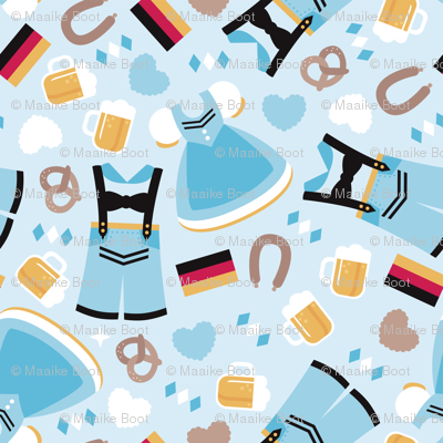 Traditional german dirndl and lederhosen oktoberfest beer holiday illustration print