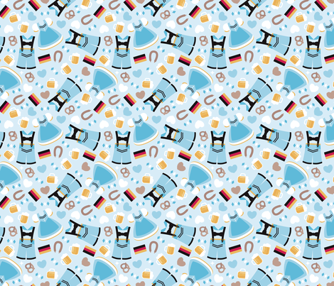 Traditional german dirndl and lederhosen oktoberfest beer holiday illustration print  fabric by littlesmilemakers on Spoonflower - custom fabric