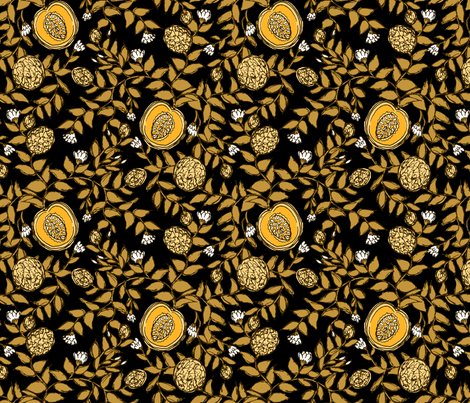Cantaloupe Vines on Black fabric by pond_ripple on Spoonflower - custom fabric