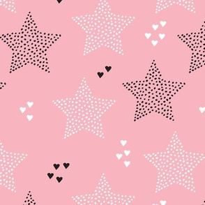 Twinkle twinkle little star cute baby nursery or christmas theme print in black white and dark night pastel pink