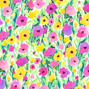 Flower Field Pink Yellow