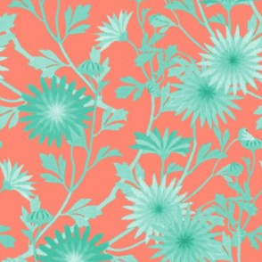 Springing Floral ~ Coral and Mint