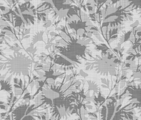 Springing Floral ~ Grey ~ Linen Luxe fabric by peacoquettedesigns on Spoonflower - custom fabric