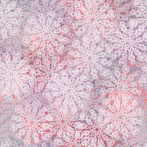Scattered Loopy Snowflakes on Pink-purple