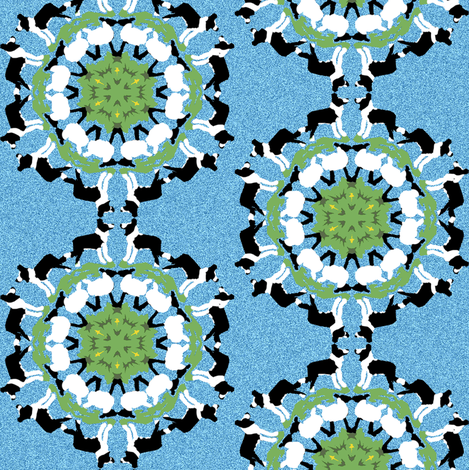 Border Collie and Sheep Snowflakes fabric by eclectic_house on Spoonflower - custom fabric