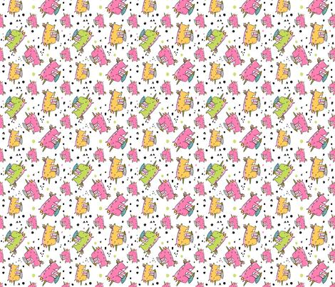 unicorn eating icecream pattern white fabric by kostolom3000 on Spoonflower - custom fabric