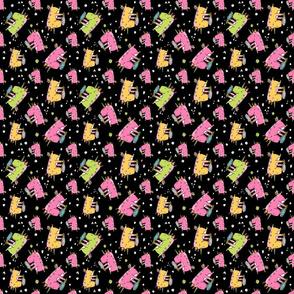 unicorn icecream pattern black