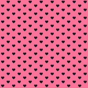 Hearts Black on Pink XS