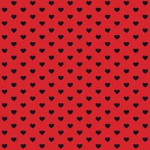 Hearts Black on Red XS