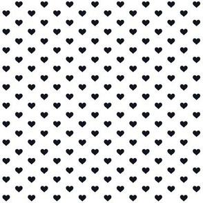 Hearts Black on White XS