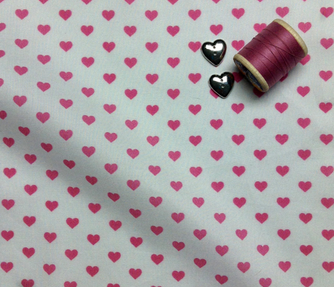 Hearts Pink on White XS