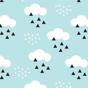 geometric pastel sleepy baby blue sky cloud pattern