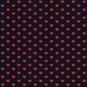Hearts Red on Black XS