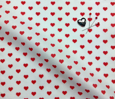 Hearts Red on White XS