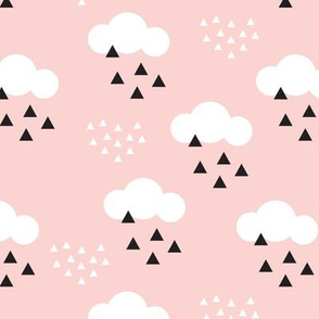 geometric pastel sleepy baby pink sky cloud pattern