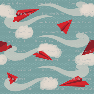 small scale paper airplanes in red